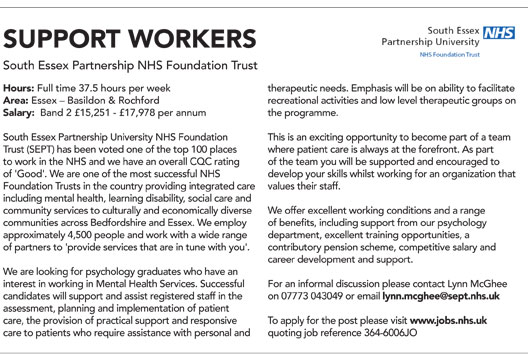 Featured job: Support worker | The Psychologist