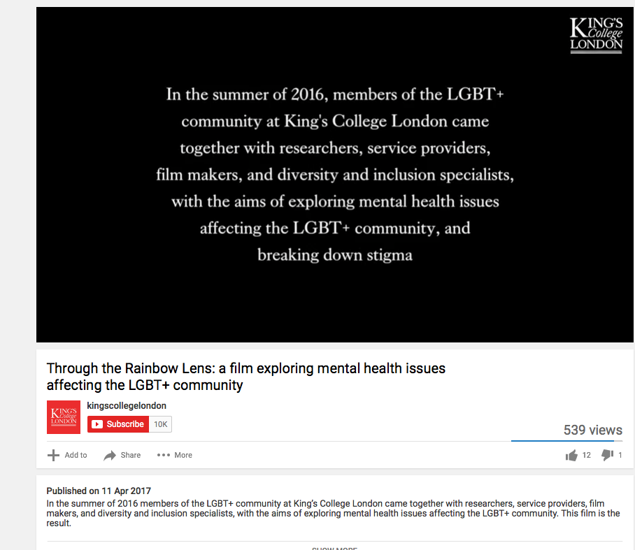 Mental health and the LGBT+ community is the subject of a half-hour documentary made by a collaborative team based at King's College London and produced by ...
