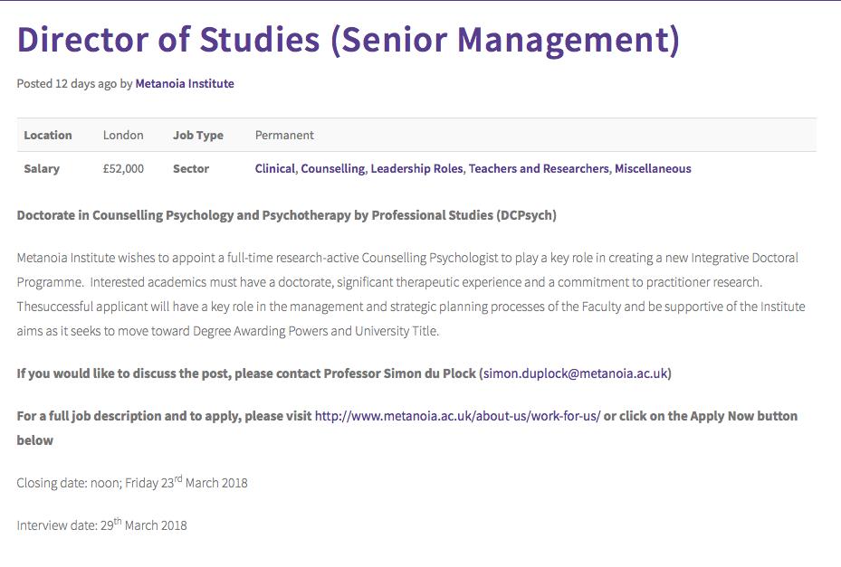 Featured Job Director Of Studies Senior Management At Metanoia
